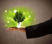 Photo Glowing tree growing in the hand of a businessman