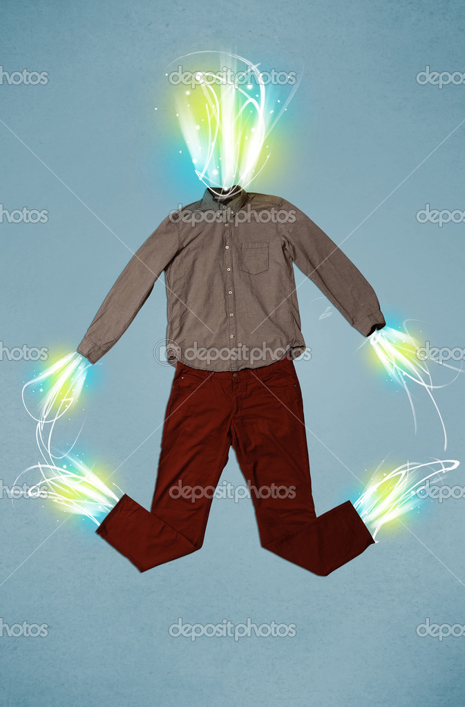 Energy Beam In Casual Clothes Concept Stock Photo