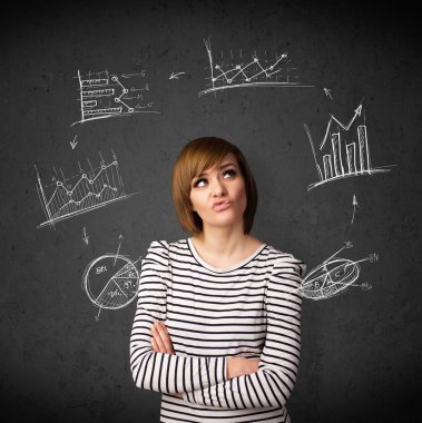 Thoughtful young woman with drawn charts circulating around her head stock vector