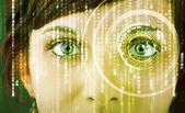 Fotografie moderní cyber žena s matice oko