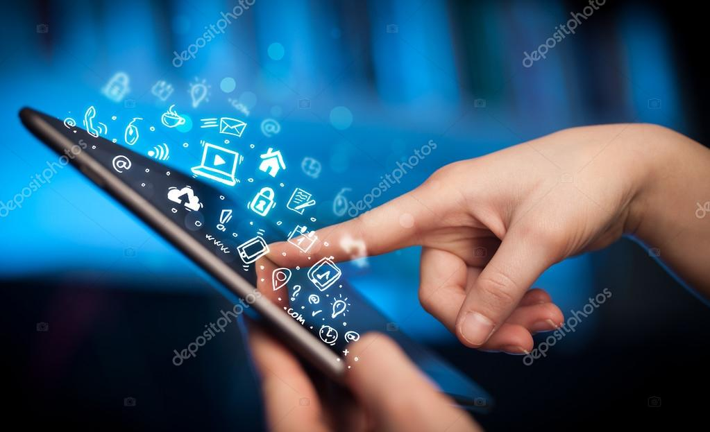 Finger pointing on tablet pc, social media concept
