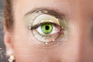 Modern cyber girl with technolgy eye looking stock vector