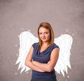 az a személy, angyal illusztrált szárnyak szutykos háttér