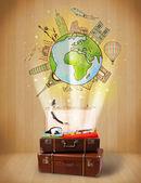 bagagli con viaggio intorno al concetto di illustrazione del mondo