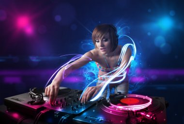 Beautiful disc jockey playing music with electro light effects and lights stock vector