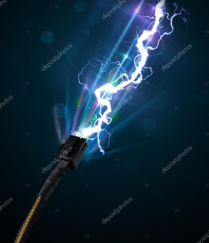 Electric cable with glowing electricity lightning — Stock Photo ... for Electricity Lightning Bolt  45hul