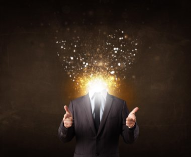 Business man with glowing exploding head