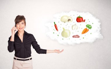 Young girl presenting nutritional cloud with vegetables concept stock vector