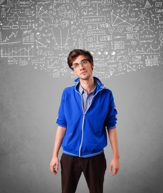 Young handsome guy with hand drawn calculations and icons