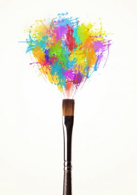 Paintbrush close-up with colored paint splashes stock vector