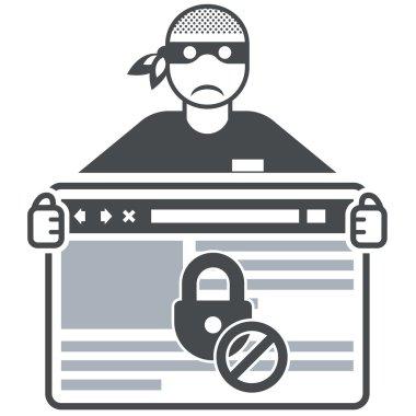Secure website - internet swindler (hacker) and browser window