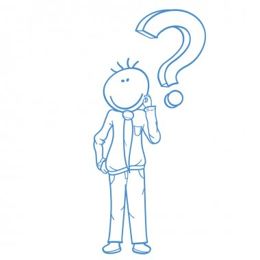 Businessman with question mark doodle