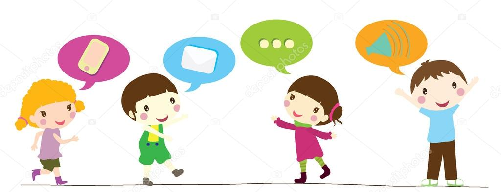 Children with speech bubbles