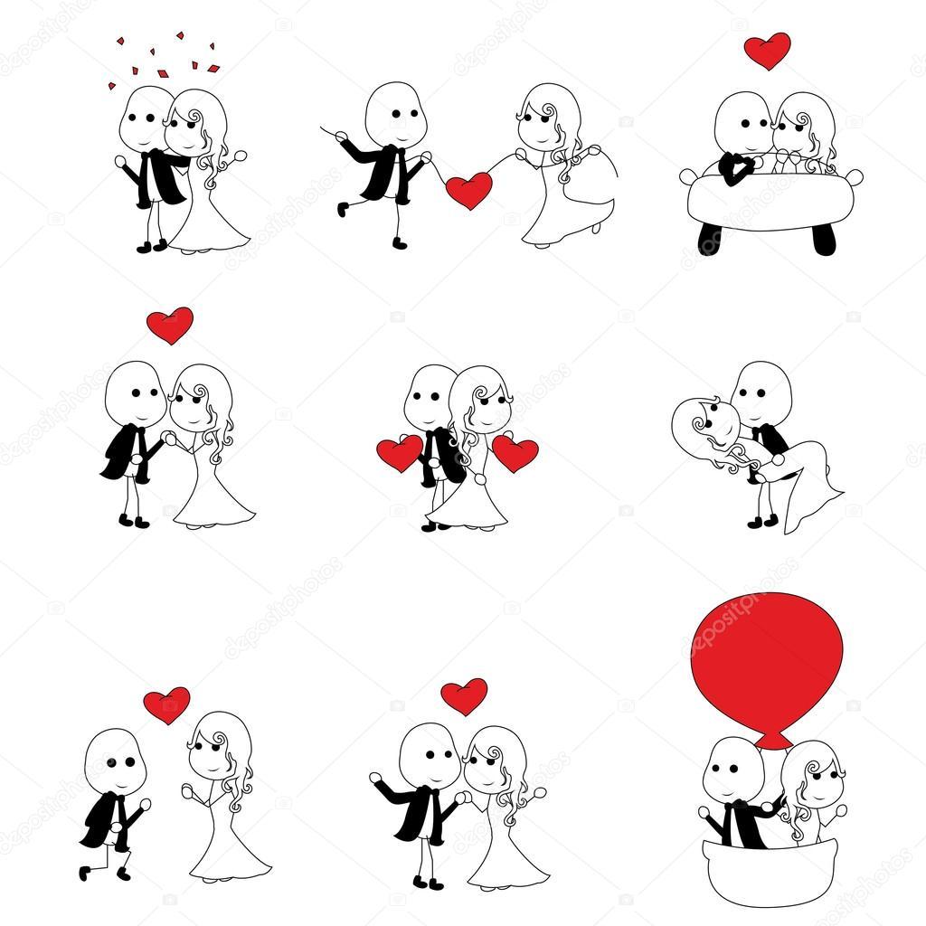 幸せなかわいいスティック図カップル — ストックベクター © glossygirl21