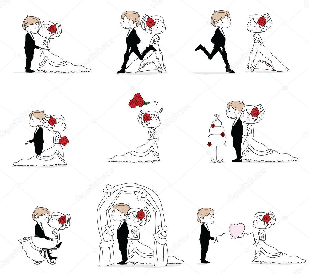 様々 なポージングとかわいい小さな結婚式のカップル — ストックベクター