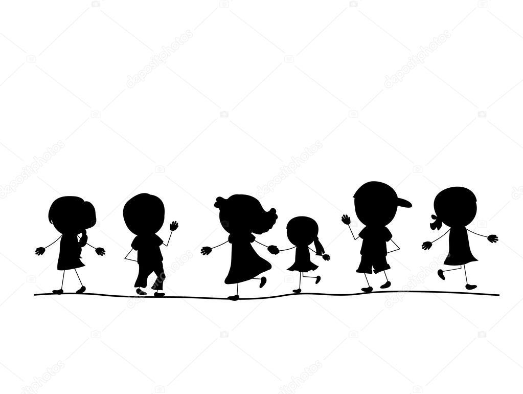 Basit Yürüyen çocuklar Bir Hattan Siluetleri Stok Vektör