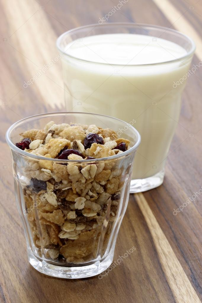 healthy and delicious yogurt with muesli