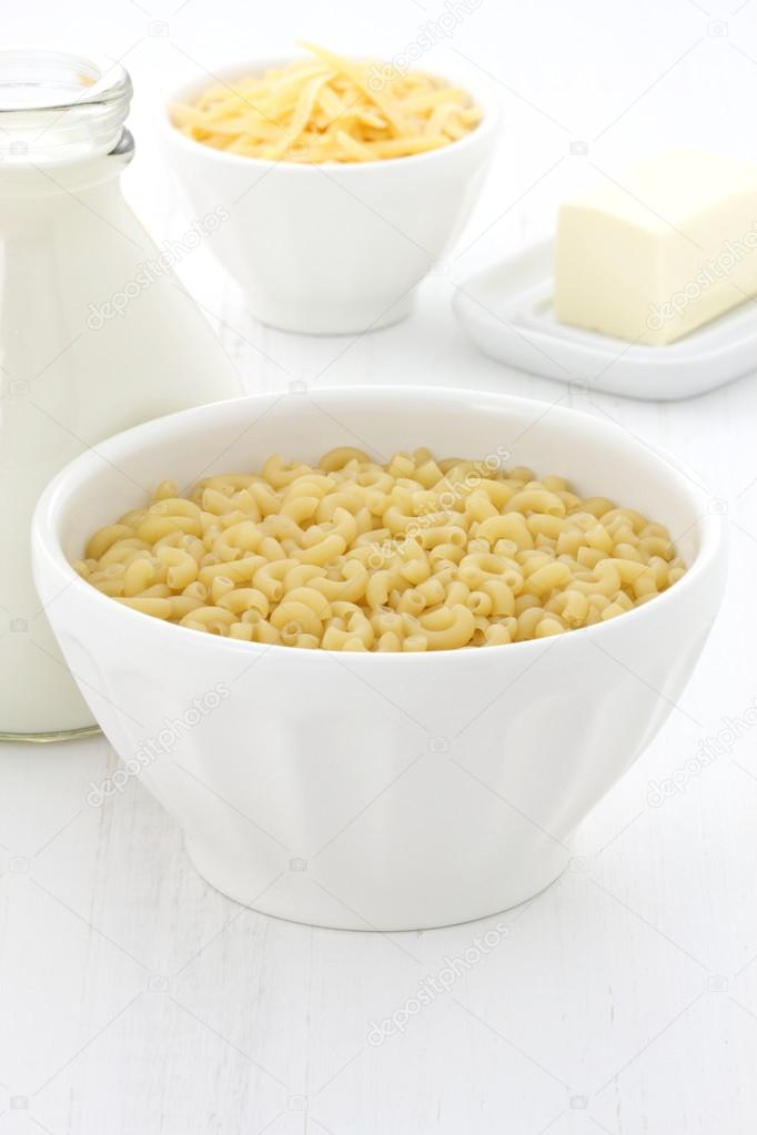 Gourmet macaroni and cheese ingredients.