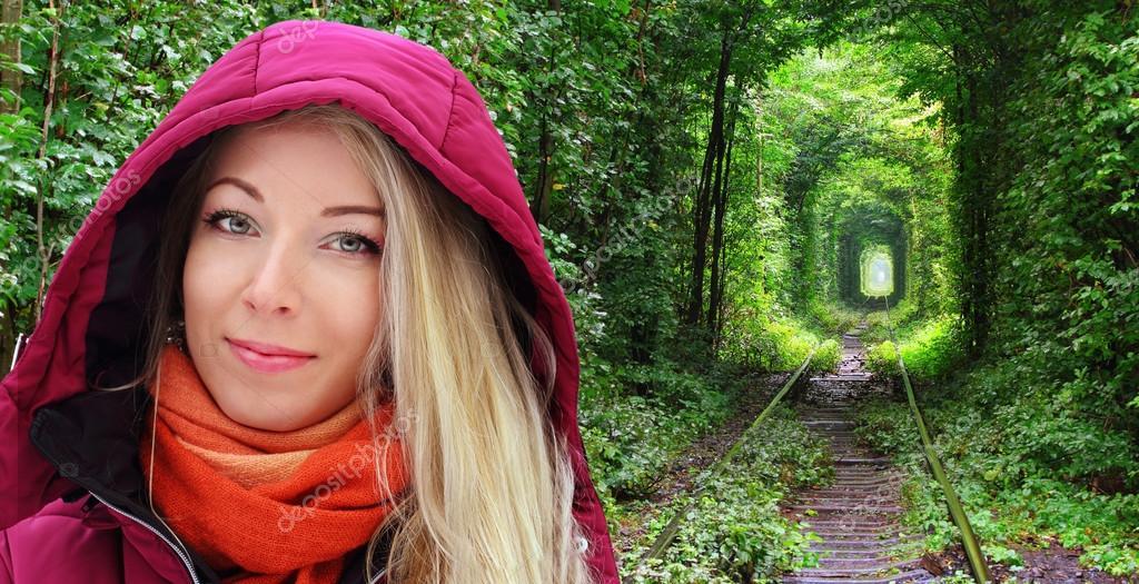 Blond girl under the hood