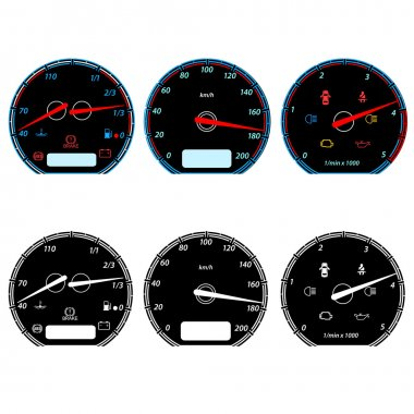 Set of car speedometers for racing design illustration