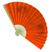 Traditional Folding Fans with a flower illustration.