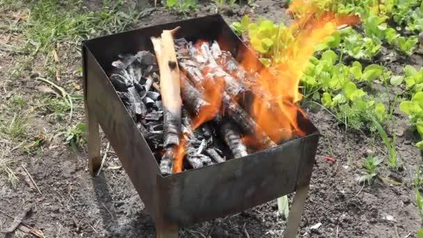 gril v plamenech detail
