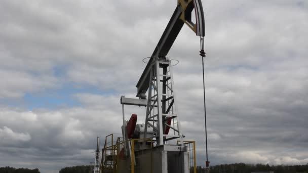 olejové čerpadlo pracuje v lese. zařízení pro ropný průmysl