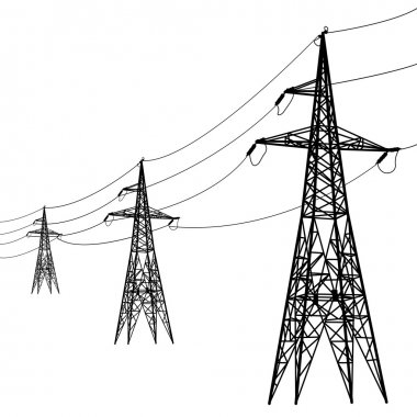 Silhouette of high voltage power lines.