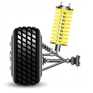 Front car suspension, frontal view.