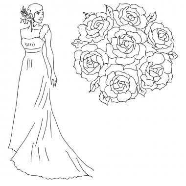 Silhouette of a bride with a bouquet of flowers.