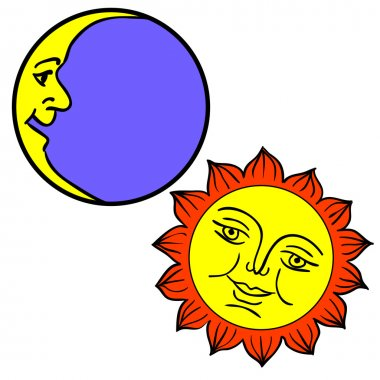 Vector illustration of Moon and Sun with faces clip art vector
