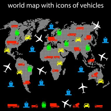 world map with icons of transport for traveling.