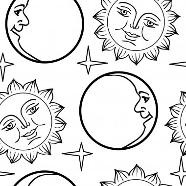 Seamless wallpaper the Moon and Sun with faces vector background clip art vector