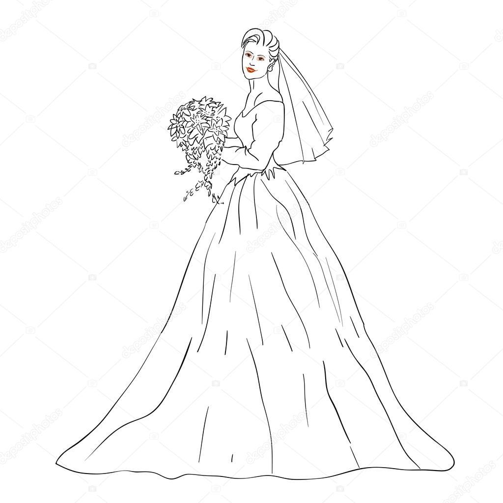 bruid in trouwjurk wit met boeket stockvector 169 aarrows