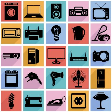 Collection flat icons with long shadow. Electrical devices symbo