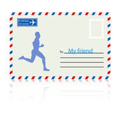 Fotografia sagome, atleta corre sulla busta posta. Vector illustrat