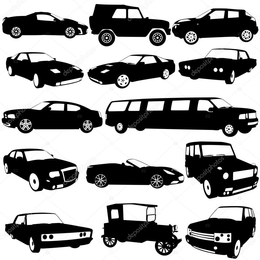 set schwarze silhouetten der verschiedenen arten von autos auf wei ba stockvektor aarrows. Black Bedroom Furniture Sets. Home Design Ideas