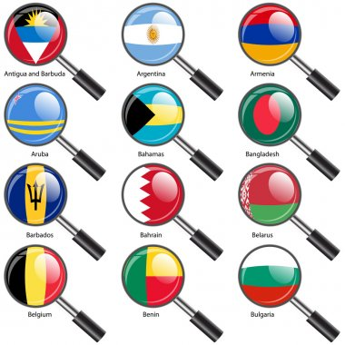 Set Flags of world sovereign states magnifying glass il