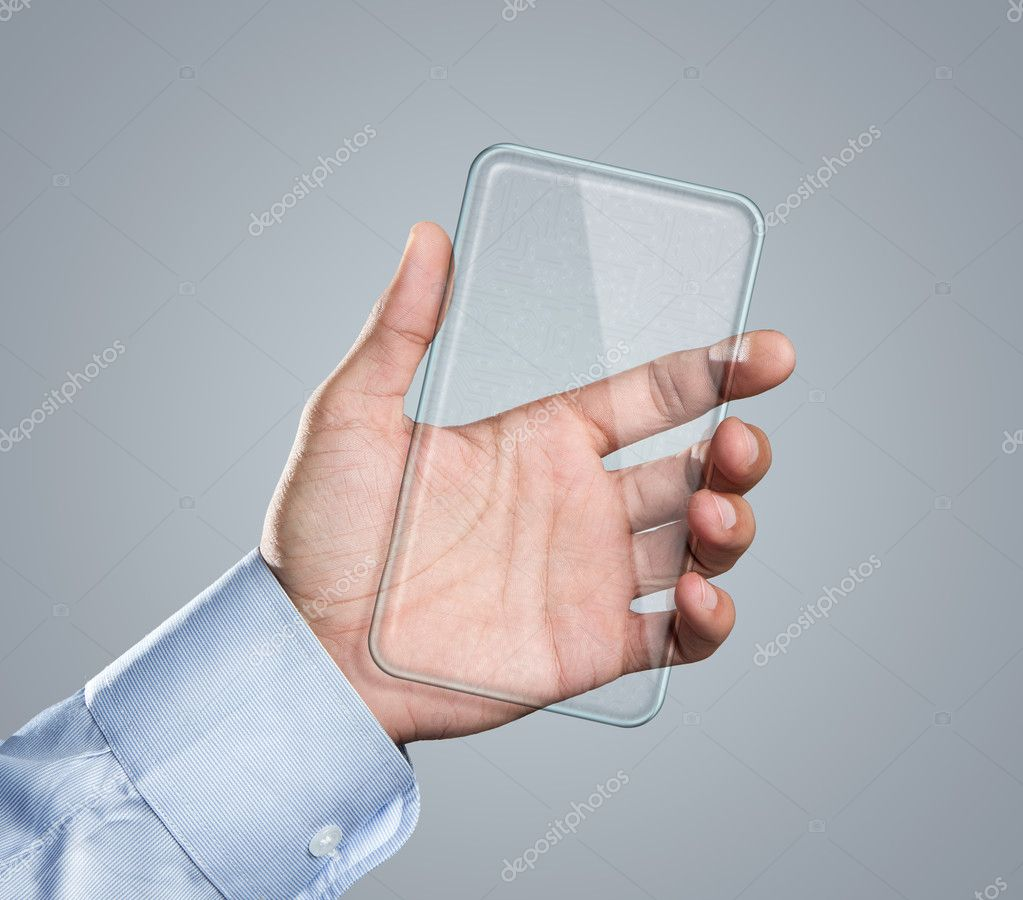 Blank futuristic smart phone in hand