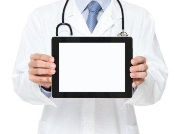 Doctor holding blank digital tablet