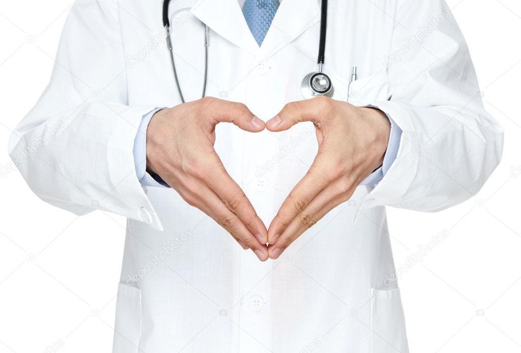 Doctor showing heart shape