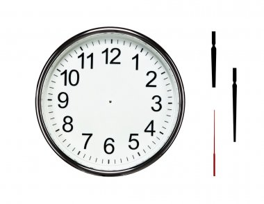 Close up of blank silver clock with clipping paths