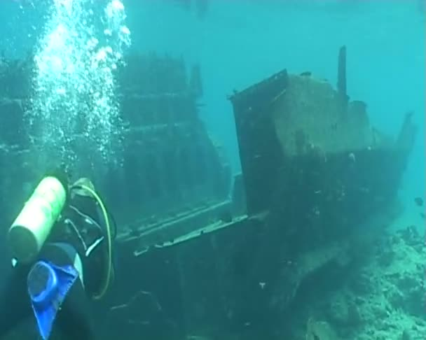 Ship wreck underwater diving video