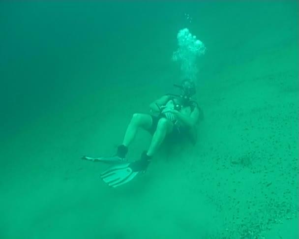 Diving underwater video