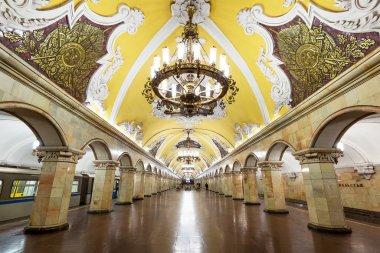 Train at the metro station Komsomolskaya in Moscow, Russia