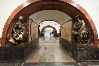 The metro station Ploschad Revolyutsii in Moscow, Russia