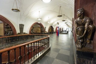 The metro station Ploschad Revolutsii in Moscow, Russia