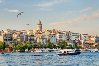 Cityscape with Galata Tower over the Golden Horn at sunset, Istanbul, Turkey stock vector