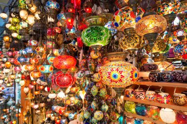 Colorful Turkish lanterns offered for sale at the Grand Bazaar in Istanbul, Turkey