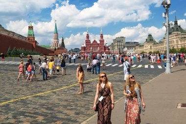 Tourists visiting the Red Square on july 13, 2013 in Moscow, Rus